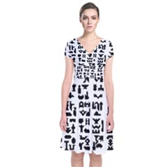 Anchor Puzzle Booklet Pages All Black Short Sleeve Front Wrap Dress