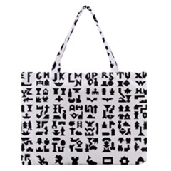 Anchor Puzzle Booklet Pages All Black Medium Zipper Tote Bag