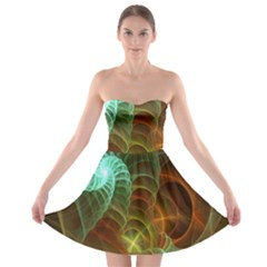 Art Shell Spirals Texture Strapless Bra Top Dress