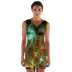 Art Shell Spirals Texture Wrap Front Bodycon Dress