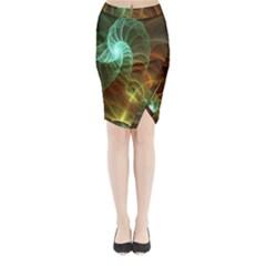 Art Shell Spirals Texture Midi Wrap Pencil Skirt