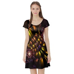 Art Design Image Oily Spirals Texture Short Sleeve Skater Dress