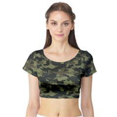 Camo Pattern Short Sleeve Crop Top (Tight Fit)
