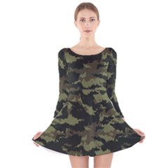 Camo Pattern Long Sleeve Velvet Skater Dress