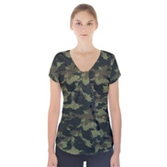 Camo Pattern Short Sleeve Front Detail Top