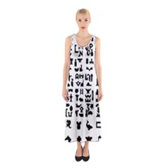 Anchor Puzzle Booklet Pages All Black Sleeveless Maxi Dress