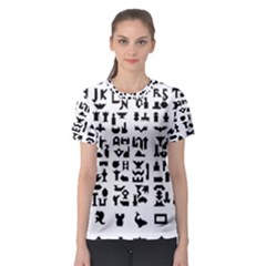 Anchor Puzzle Booklet Pages All Black Women s Sport Mesh Tee