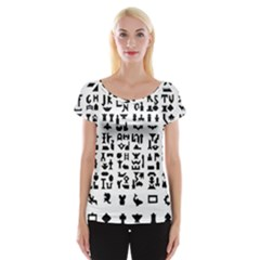 Anchor Puzzle Booklet Pages All Black Women s Cap Sleeve Top