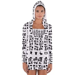 Anchor Puzzle Booklet Pages All Black Women s Long Sleeve Hooded T-shirt