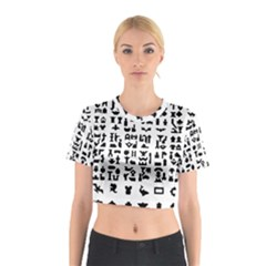 Anchor Puzzle Booklet Pages All Black Cotton Crop Top