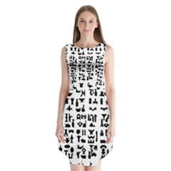 Anchor Puzzle Booklet Pages All Black Sleeveless Chiffon Dress