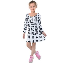 Anchor Puzzle Booklet Pages All Black Kids  Long Sleeve Velvet Dress