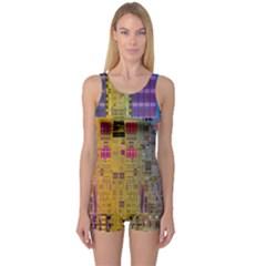 Circuit Board Pattern Lynnfield Die One Piece Boyleg Swimsuit