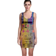 Circuit Board Pattern Lynnfield Die Sleeveless Bodycon Dress