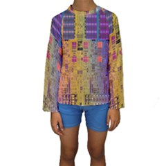Circuit Board Pattern Lynnfield Die Kids  Long Sleeve Swimwear