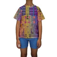 Circuit Board Pattern Lynnfield Die Kids  Short Sleeve Swimwear