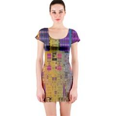 Circuit Board Pattern Lynnfield Die Short Sleeve Bodycon Dress