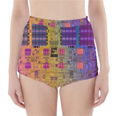 Circuit Board Pattern Lynnfield Die High-Waisted Bikini Bottoms