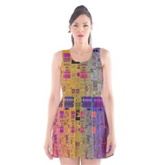 Circuit Board Pattern Lynnfield Die Scoop Neck Skater Dress