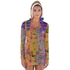 Circuit Board Pattern Lynnfield Die Women s Long Sleeve Hooded T Shirt