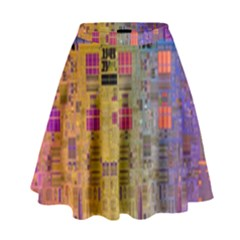 Circuit Board Pattern Lynnfield Die High Waist Skirt