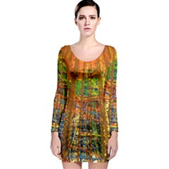 Circuit Board Pattern Long Sleeve Bodycon Dress