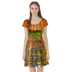 Circuit Board Pattern Short Sleeve Skater Dress
