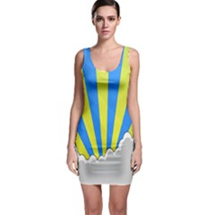 Sunlight Clouds Blue Sky Yellow White Sleeveless Bodycon Dress