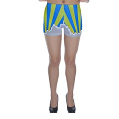 Sunlight Clouds Blue Sky Yellow White Skinny Shorts