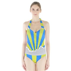 Sunlight Clouds Blue Sky Yellow White Halter Swimsuit