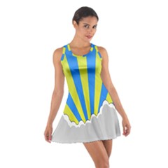 Sunlight Clouds Blue Sky Yellow White Cotton Racerback Dress