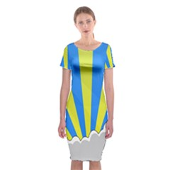 Sunlight Clouds Blue Sky Yellow White Classic Short Sleeve Midi Dress