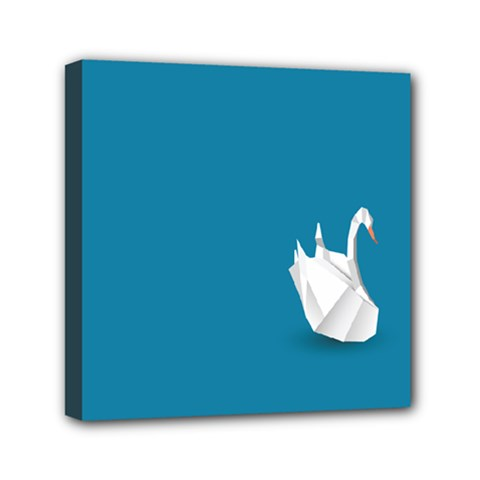 Swan Animals Swim Blue Water Mini Canvas 6  x 6
