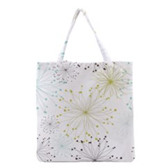 Retro Floral Flower Seamless Gold Blue Brown Grocery Tote Bag