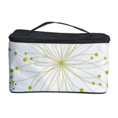 Retro Floral Flower Seamless Gold Blue Brown Cosmetic Storage Case