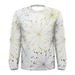 Retro Floral Flower Seamless Gold Blue Brown Men s Long Sleeve Tee