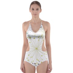 Retro Floral Flower Seamless Gold Blue Brown Cut-Out One Piece Swimsuit