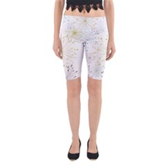Retro Floral Flower Seamless Gold Blue Brown Yoga Cropped Leggings