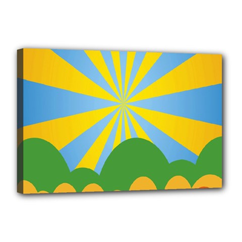 Sunlight Clouds Blue Yellow Green Orange White Sky Canvas 18  x 12