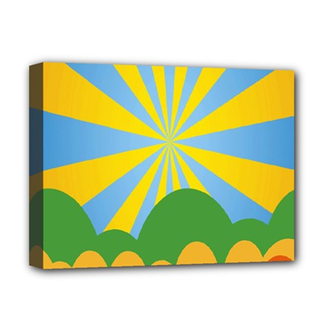Sunlight Clouds Blue Yellow Green Orange White Sky Deluxe Canvas 16  x 12