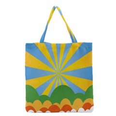 Sunlight Clouds Blue Yellow Green Orange White Sky Grocery Tote Bag