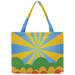 Sunlight Clouds Blue Yellow Green Orange White Sky Mini Tote Bag