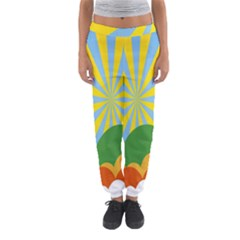 Sunlight Clouds Blue Yellow Green Orange White Sky Women s Jogger Sweatpants