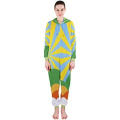 Sunlight Clouds Blue Yellow Green Orange White Sky Hooded Jumpsuit (ladies)