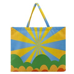 Sunlight Clouds Blue Yellow Green Orange White Sky Zipper Large Tote Bag