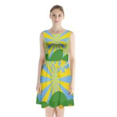 Sunlight Clouds Blue Yellow Green Orange White Sky Sleeveless Chiffon Waist Tie Dress