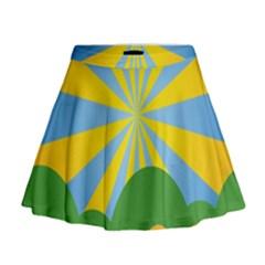 Sunlight Clouds Blue Yellow Green Orange White Sky Mini Flare Skirt