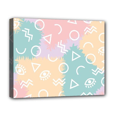 Triangle Circle Wave Eye Rainbow Orange Pink Blue Sign Deluxe Canvas 20  x 16