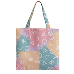 Triangle Circle Wave Eye Rainbow Orange Pink Blue Sign Zipper Grocery Tote Bag