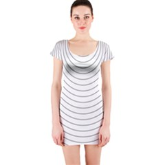 Wave Black White Line Short Sleeve Bodycon Dress